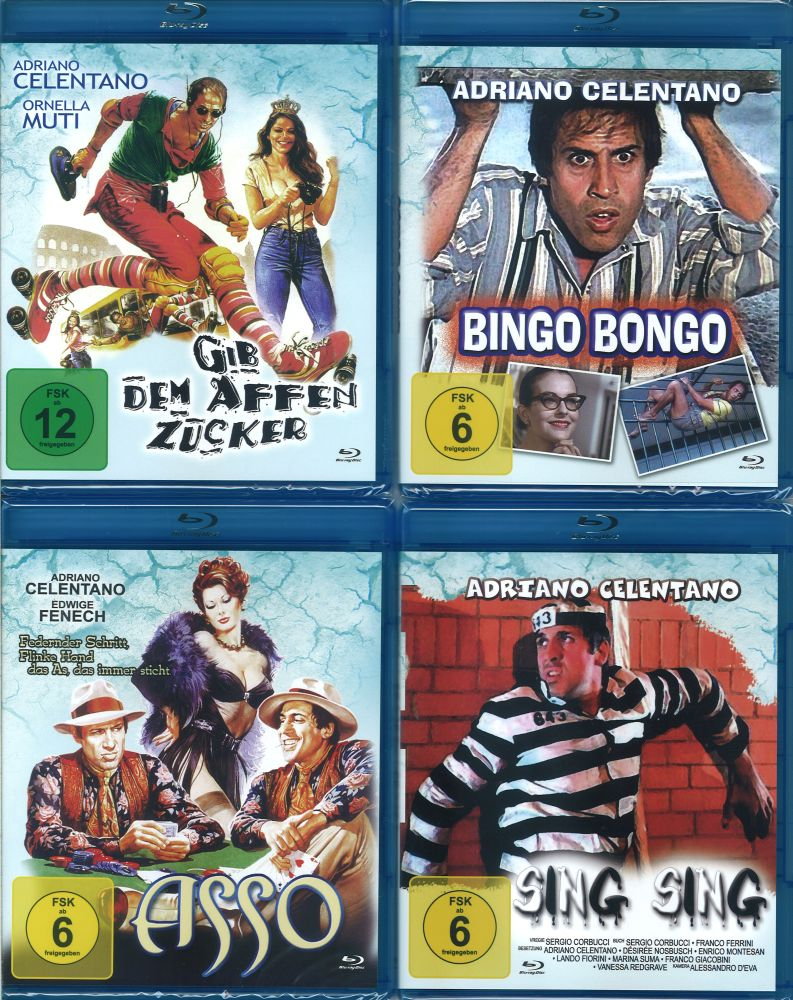 4er set adriano celentano blu ray bingo bongo asso sing sing gib dem affen neu ebay. Black Bedroom Furniture Sets. Home Design Ideas